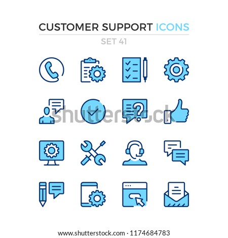 Customer support icons. Vector line icons set. Premium quality. Simple thin line design. Modern outline symbols, pictograms.