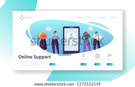 Customer Support Internet Service Landing Page. Operator Character Call Online Business Client by Headset. Helpline Center Concept for Website or Web Page. Flat Cartoon Vector Illustration