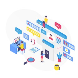Customer support isometric vector illustration. Digital platform for technical assistance. Callcenter and telemarket. Online corporate marketing. Hotline services cartoon conceptual design element