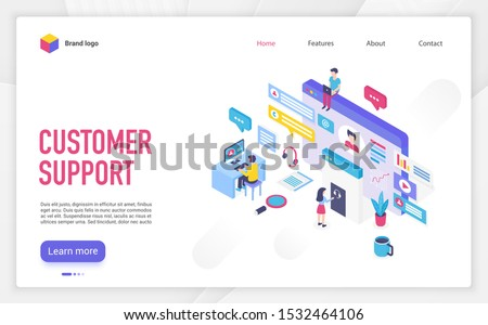 Customer support landing page vector template. Call center, helpline, hotline website homepage interface layout with isometric illustration. Telemarketing business web banner, webpage 3D concept
