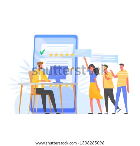 Customer support manager, online consultant, call center specialist wearing headphones sitting at computer, five star rating and group of clients standing in queue. Flat colorful vector illustration.