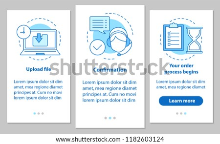 Customer support onboarding mobile app page screen with linear concepts. Upload file, confirmation, order processing. Digital service steps instructions. UX, UI, GUI vector template with illustrations