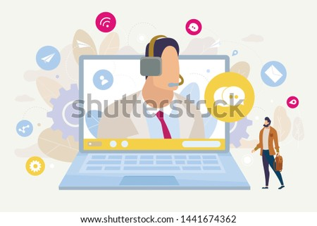 Customer Support Online, Call Center for Company Clients Flat Vector Concept. Man Asking Question, Searching Technical Advice, Messaging to Helpline, Communicating with Operator Online Illustration
