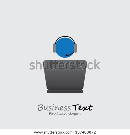Customer support or front office worker & laptop- vector graphic. The illustration shows an employee icon with headphone and laptop with space for business text and business slogan