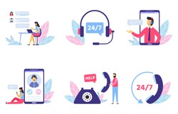Customer support. Personal assistant service, person advisor and helpful advice services. Social media network services, online supporter agents. Isolated flat vector illustration icons set