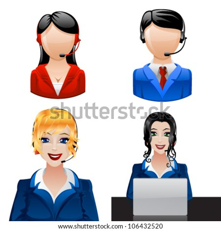 Customer support phone operators. Vector