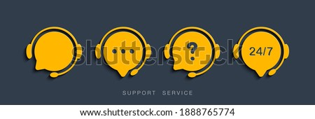 Customer Support Service. Chat vector icons. Call center symbols. Headset symbols. Hotline concept. Vector illustration