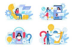 Customer support service. Social call center, round-the-clock online assistance. Internet chat for answering to clients and buyers questions. Web feedback and users comments. FAQ concept. Vector set