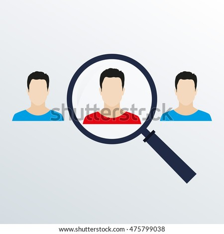 Customer target concept with magnifier and man icon inside. HR looking for worker with magnifying glass. Vector illustration.