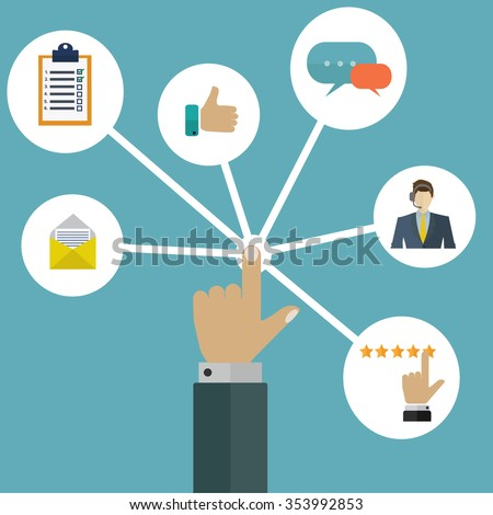 Customer/user interactions management system vector concept