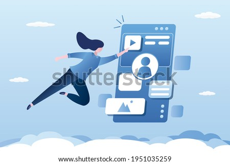 Customer workspace. Interactive interaction with mobile application. Cute female character uses social media app. Smartphone screen, interface and flying woman user. Flat design vector illustration Stock photo ©