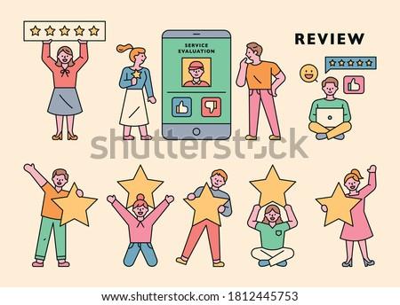 Customers are staring in satisfaction surveys. flat design style minimal vector illustration.