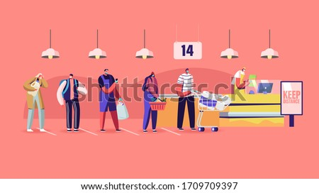 Customers Characters in Medical Masks Stand in Line at Grocery with Goods in Shopping Trolley Keeping Distance Put Buys on Cashier Desk during Covid19 Pandemic. Cartoon People Vector Illustration