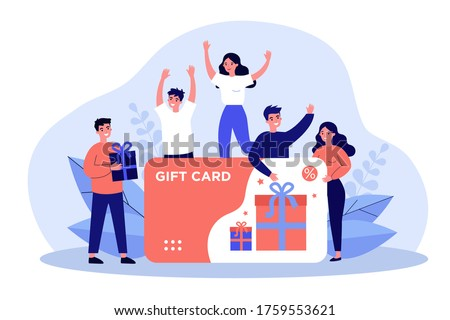Customers getting gift card. Cheerful people happy about discount card, coupon or voucher. Vector illustration for sale, loyalty program, bonus, promotion concept