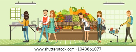 Customers people bying products in supermarket, store shelves with fresh vegetables, supermarket interior design horizontal vector Illustration