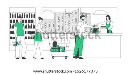 Customers Stand in Line at Grocery or Supermarket Turn with Goods in Shopping Trolley Put Buys on Cashier Desk for Paying. Purchases Sale, Queue in Store. Cartoon Flat Vector Illustration, Line Art