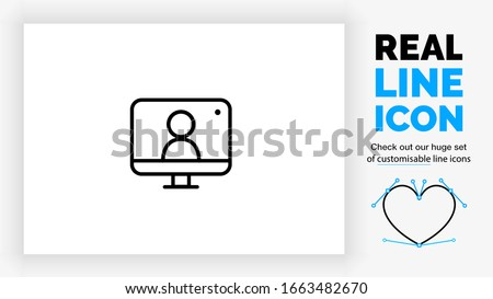 customisable real line icon of a desktop computer with a live broadcast on a social streaming channel with a symbol of a person having a video call or online conference meeting on a white background