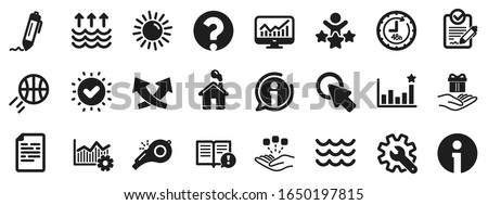 Customisation, Global warming and Question mark signs. Whistle, Waves and Sun icons. Signature Rfp, Information and Efficacy icons. Waves, Consolidation and Operational excellence. Vector Foto d'archivio ©