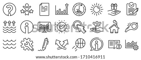 Customisation, Global warming, Question mark icons. Waves, sun, efficacy line icons. Signature Rfp, Information, Efficacy. Waves, Consolidation, Operational excellence. Question mark, whistle. Vector Foto d'archivio ©