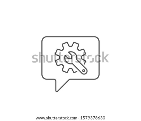 Customisation line icon. Chat bubble design. Settings or editing sign. Repair symbol. Outline concept. Thin line customisation icon. Vector Foto d'archivio ©