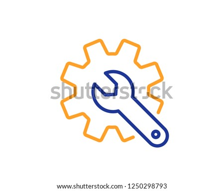 Customisation line icon. Settings or editing sign. Repair symbol. Colorful outline concept. Blue and orange thin line color icon. Customisation Vector Foto d'archivio ©