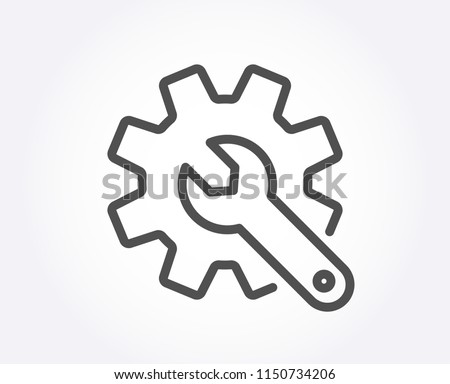 Customisation line icon. Settings or editing sign. Repair symbol. Quality design element. Classic style. Editable stroke. Vector Foto d'archivio ©