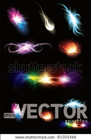 Customizable Set of Vector glowing special light effect graphic elements with sparkles