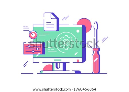 Customization and setting design online vector illustration. Touch screen device setting flat style. System update, setting operating system, cloud storage concept. Isolated on white background Stock photo ©