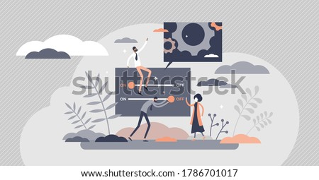 Customization as website or service adaption for customer tiny person concept. Client wishes adjustment and personal approach vector illustration. Online technology with changeable elements and style. Foto stock ©
