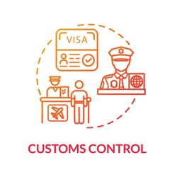 Customs control concept icon. Passengers documents check and boarding idea thin line illustration. Airport terminal check in. Vector isolated outline RGB color drawing