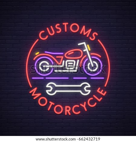 Customs motorcycle neon sign. Neon sign, bright signboard, light banner.