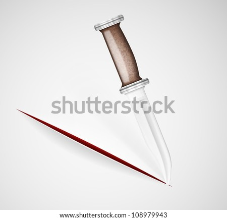 cut a knife on a paper eps 10