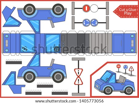 Cut and glue a cartoon cabriolet car. Worksheet with education riddle. Children art game. Kids crafts activity page. Create paper toys car yourself. Vector illustration.