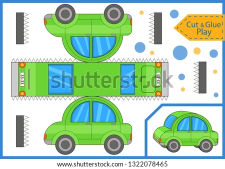 Cut and glue a mini car. Worksheet with funny education riddle. Children art game. Kids crafts activity page. Create paper car. Vector illustration.