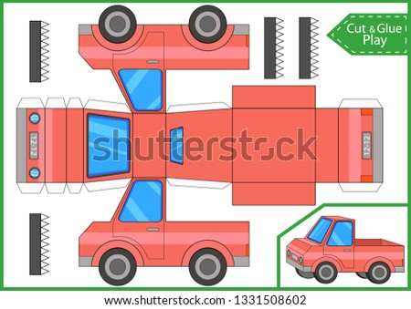 Cut and glue a paper mini truck. Kids crafts activity page. Create paper car. Worksheet with funny education riddle. Children art game. 3d gaming puzzle. Vector illustration.