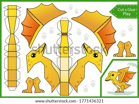Cut and glue paper 3d a dinosaur. DIY dinosaurs papercraft project. Worksheet for kids craft. Education children activity page. Birthday decor. Vector illustration.