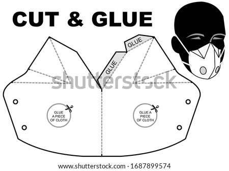 CUT AND GLUE Protection mask paper model. Homemade mask. DIY Papercraft. Template for making a medical mask. Self-manufacturing face mask