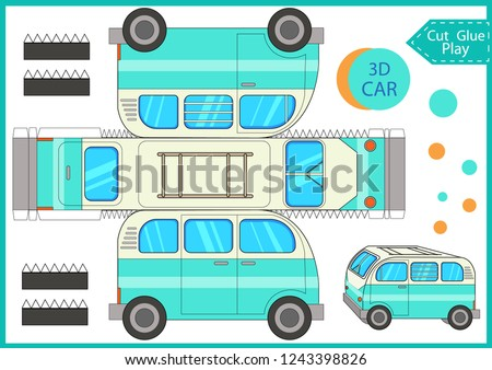 Cut and glue the paper a camping bus trailer. Worksheet with funny education riddle. Children art game. Kids crafts activity page. Create toys car yourself. Birthday decor. Vector illustration.
