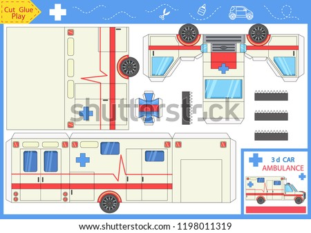 Cut and glue the paper a car ambulance. Worksheet with funny education riddle. Children art game. Kids crafts activity page. Create toys yourself. Birthday decor. Vector illustration.