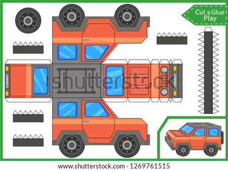 Cut and glue the paper a car SUV. Worksheet with funny education riddle. Children art game. Kids crafts activity page. Create toys car yourself. Birthday decor. Vector illustration.