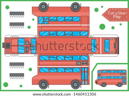 Cut and glue the paper a cartoon double decker bus. Worksheet with funny education riddle. Children art game. Kids crafts activity page. Create red bus yourself. Birthday decor. Vector illustration.