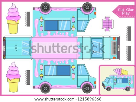 Cut and glue the paper a cartoon ice cream truck. Worksheet with funny education riddle. Children game. Kids crafts activity page. Create toys yourself. Birthday decor. Vector illustration.