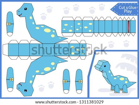 Cut and glue the paper a cute dinosaur andesaurus. Worksheet with education riddle. Children craft game. Kids activity page. Birthday party decoration. Vector illustration.