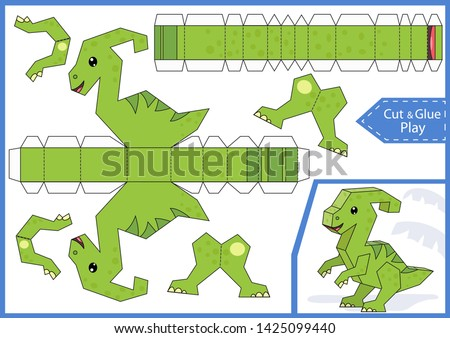 Cut and glue the paper a cute dinosaur parasaurolophus. Worksheet with education riddle. Children art game. Kids crafts activity page. Create toys. Birthday party decoration. Vector illustration.