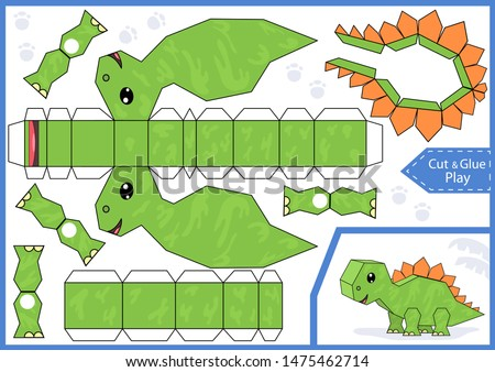 Cut and glue the paper a cute dinosaur stegosaurus. Worksheet with education riddle. Children art game. Kids crafts activity page. Dinosaur birthday party decoration. Vector illustration.
