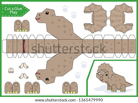 Cut and glue the paper a cute dinosaur Triceratops. Worksheet with funny education riddle. Children craft game. Kids activity page. Birthday party decoration. Vector illustration.