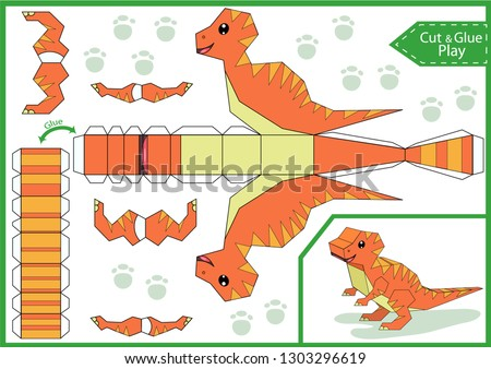 Cut and glue the paper a cute dinosaur velociraptor. Worksheet with funny education riddle. Children art game. Kids crafts activity page. Create toys yourself. Party decoration. Vector illustration.