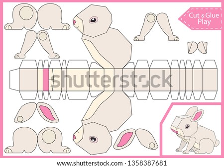 Cut and glue the paper a cute rabbit. Worksheet with funny education riddle. Children art game. Kids crafts activity page. Create toys yourself. Easter bunny. Vector illustration.