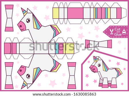 Cut and glue the paper a cute unicorn. Diy Miniature. Children craft worksheet. Art game. Kids crafts activity page. Create toys. 3d gaming puzzle. Birthday decor. Vector illustration.