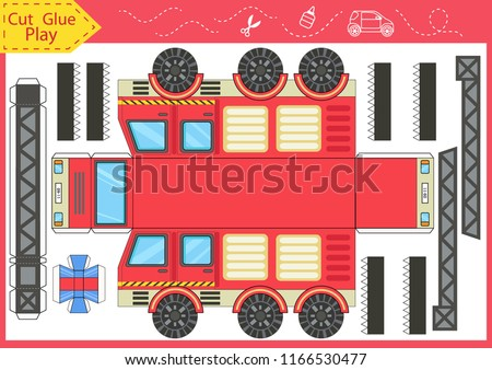 Cut and glue the paper a fire truck. Worksheet with funny education riddle. Children art game. Kids crafts activity page. Create toys yourself. Birthday decor. Vector illustration.